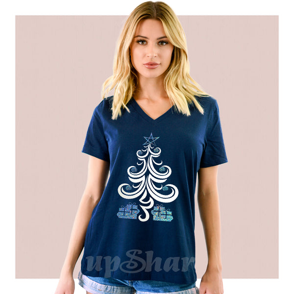 V-Neck Tee Under The Christmas Tree