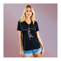 V-Neck Tee Faith Word Up & Down