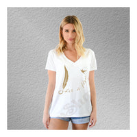 V-Neck Tee Feather Hummingbird