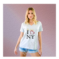 V-Neck Tee I Love NY Liberty Torch