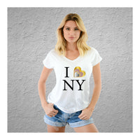 V-Neck Tee I Love NY 3 Hearts