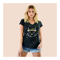V-Neck Tee Christmas Deer Female