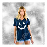 V-Neck Tee Pumpkin Bad Face