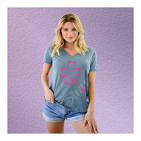V-Neck Tee Tribal Clover Luck
