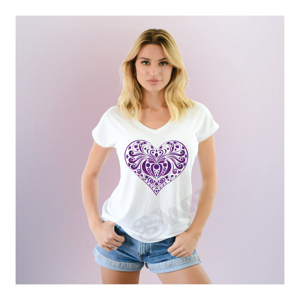 V-Neck Tee Tribal Heart New