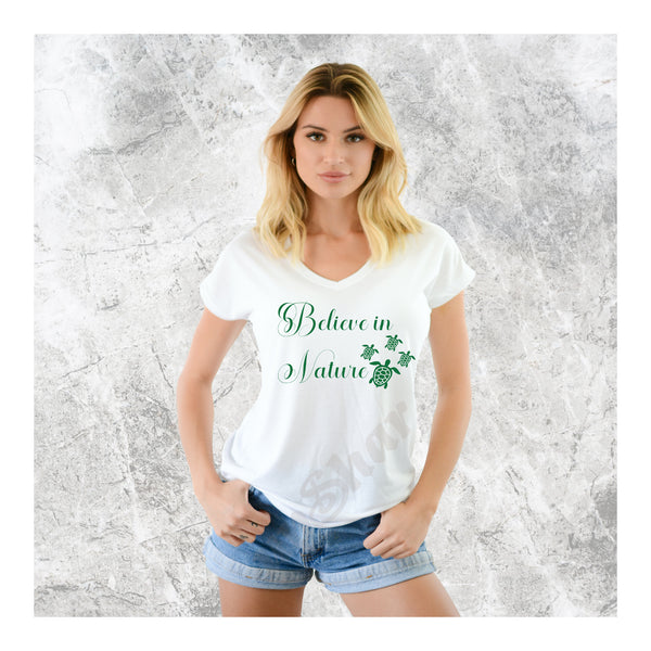 V-Neck Tee Believe in Nature Turtles