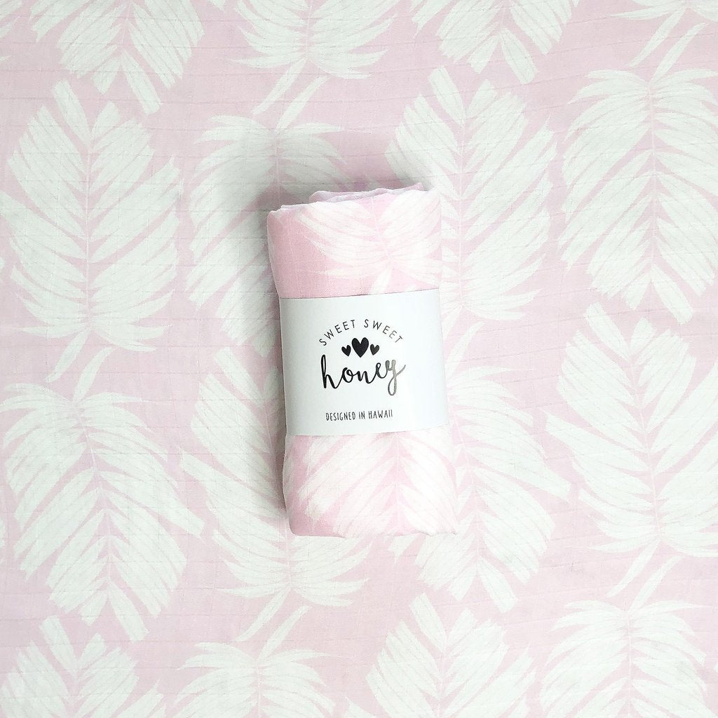 Bubble Gum Palm Swaddle Blanket