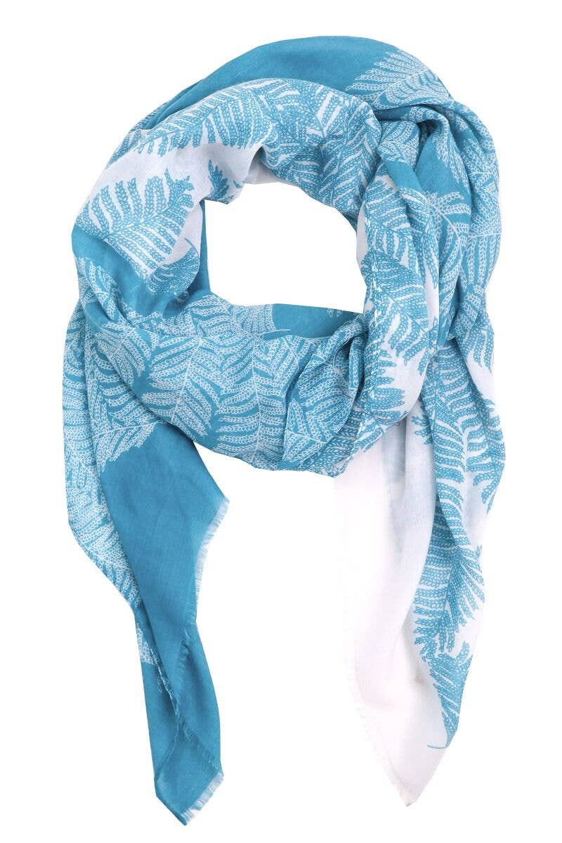 Vibrant Colored Fern Print Scarf