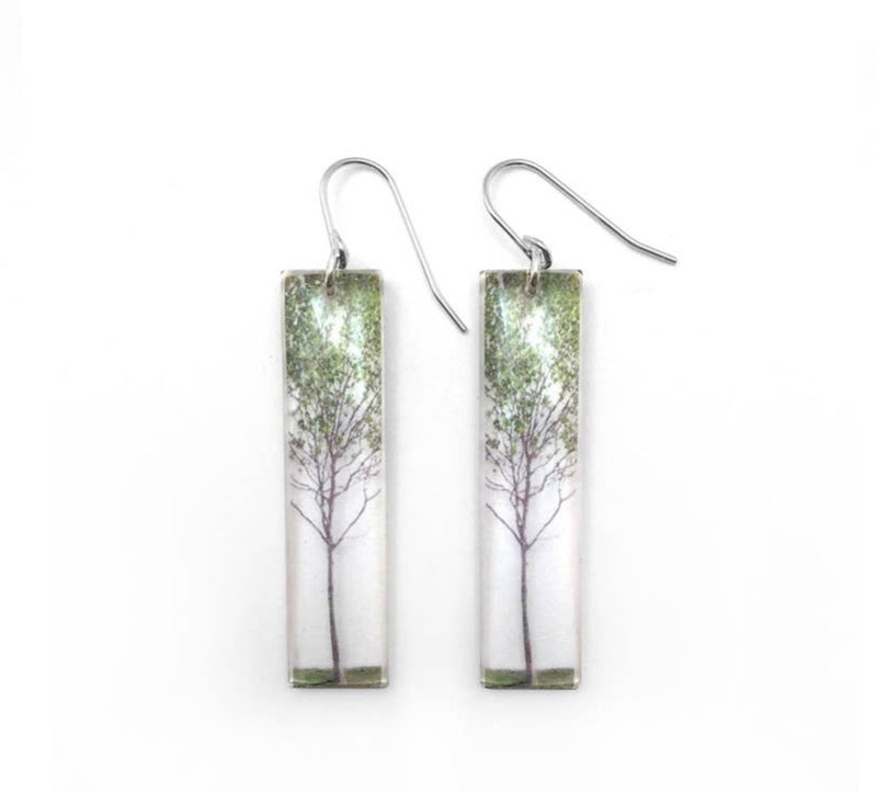 Green Tree Earrings
