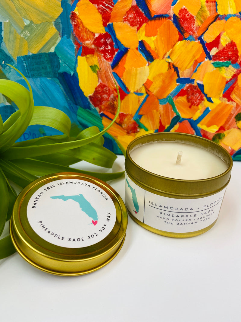 Pineapple Sage Gold Tin Florida Keys Candle
