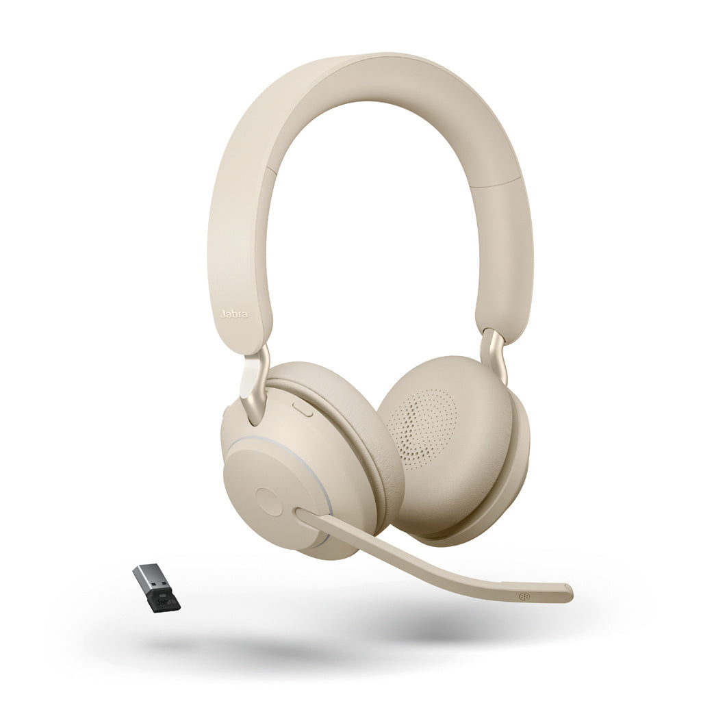 Jabra Evolve2 65, Link380a UC Stereo Stand Beige