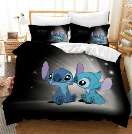 Stitch Duvet Cover Set Kids Bed Set Cartoon Comforter Boys Bed Linen Bedroom-Stitch Duvet Cover Set