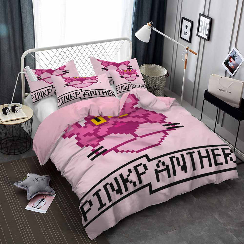 Pink Panther Comforter Bedding Set 3D Customize Duvet Cover Set for Bedroom-Pink Panter Bed set-simphouse