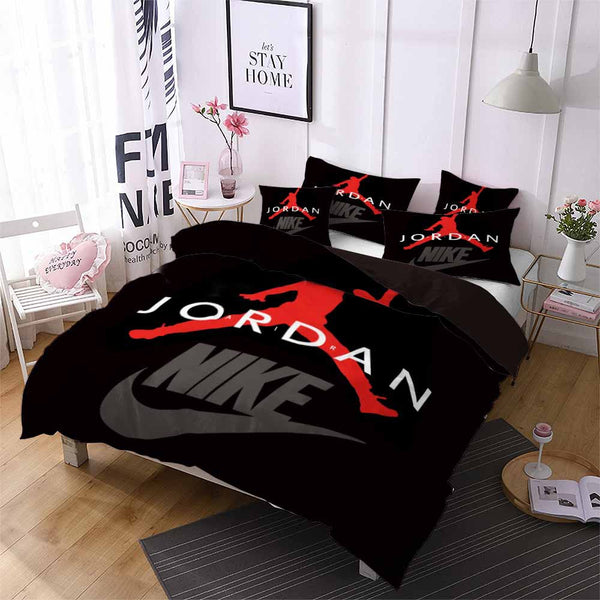 Black Luxury Bedding Jordan Bed Set Quilt Cover Duvet Comforter Cover Bedding Sets-Air Jordan Bed set-simphouse