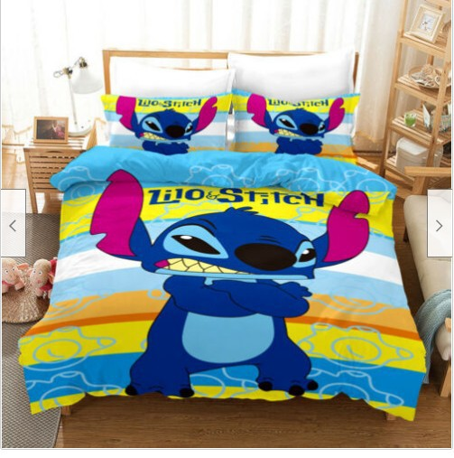 Stitch Duvet Cover Set Bed Linen 3d Customize Cartoon Bed Set Comforter Set-Stitch Duvet Cover Set