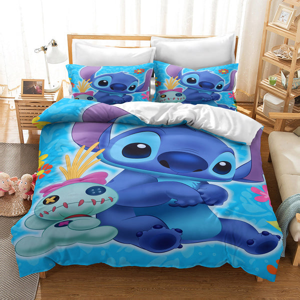 Stitch Duvet Cover Set Kids Bed Set Cartoon Comforter Boys Girls Bed Linen-Stitch Duvet Cover Set