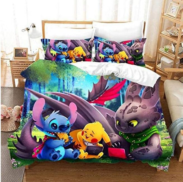 Pokemon Quilt Cover Pikachu 3D Cartoon Bedding Sets Bed Set Duvet Cover Set Bed Linen-Rose Leopard Duvet Cover Set
