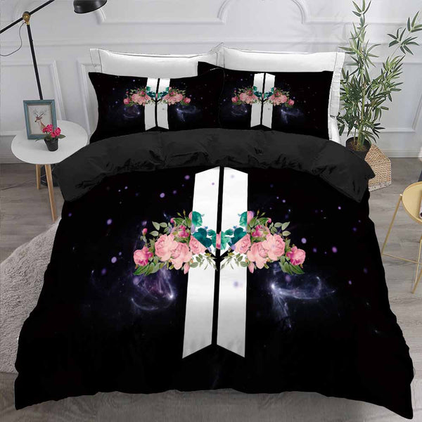 BTS Bantang Boys Bedding Set Black Comforter Cover King Quilt Duvet Cover Bedroom Decor-BTS Bed set-simphouse