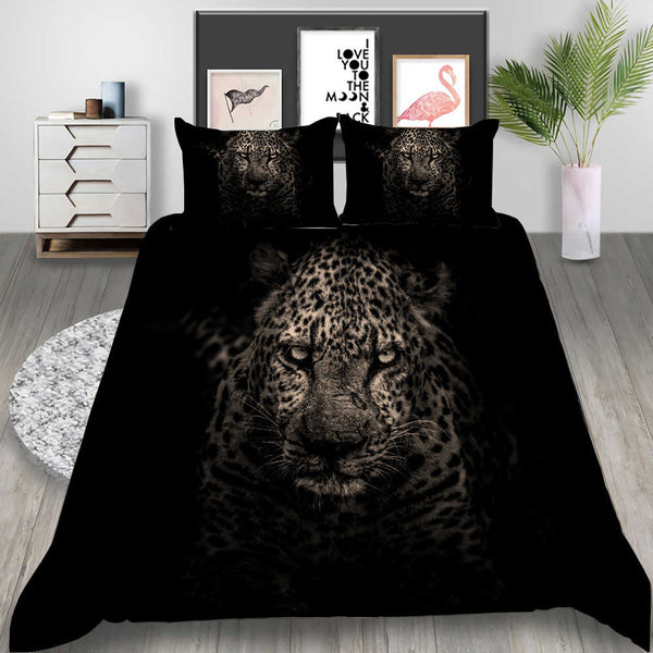 Tiger Bedding Animal Duvet Cover Set 3d Customized Bed Set Black Quilt Cover Bedroom