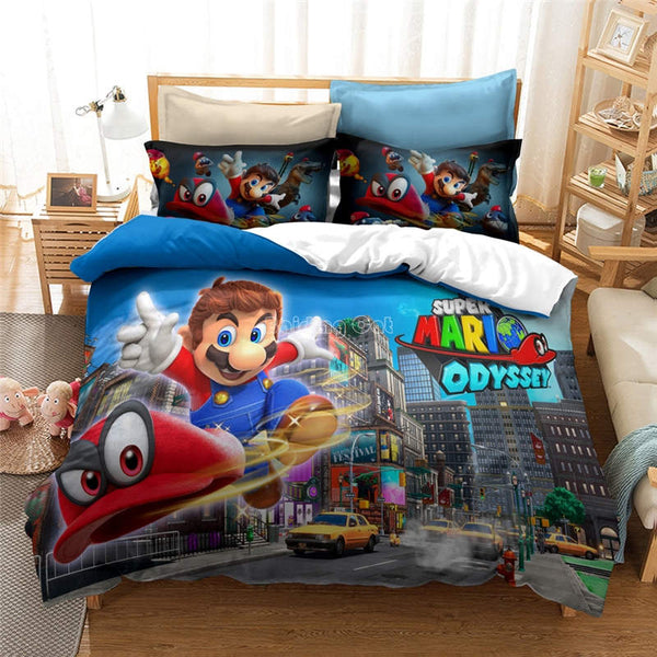 Mario Bros Bedding Set Duvet Cover Set Girls Boys Kids Children bedline-Mario Bros Duvet Cover Set