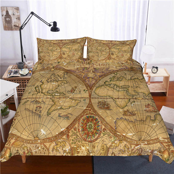 Map Bed Linen 3d Customize Country Quilt Cover Comforter Sets Bedding Sets Duvet Cover Set-Map Duvet Cover Set