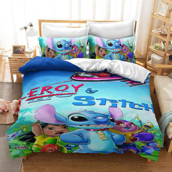 Stitch Duvet Cover Set Kids Bed Set Cartoon Comforter Boys Girls Bed Linen Bedroom-Stitch Duvet Cover Set