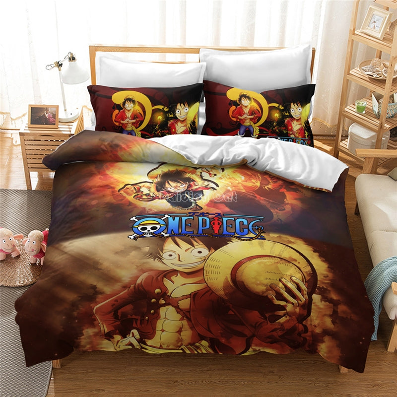 ONE PIECE Cartoon Bed Linen Popular Monkey D. Luffy Printed Bedding Set AnimeChildren Duvet Cover Set