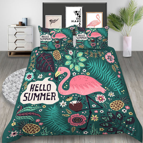Flamingo Bed Set Duvet Cover Tropical Plant Bedlinen Se
