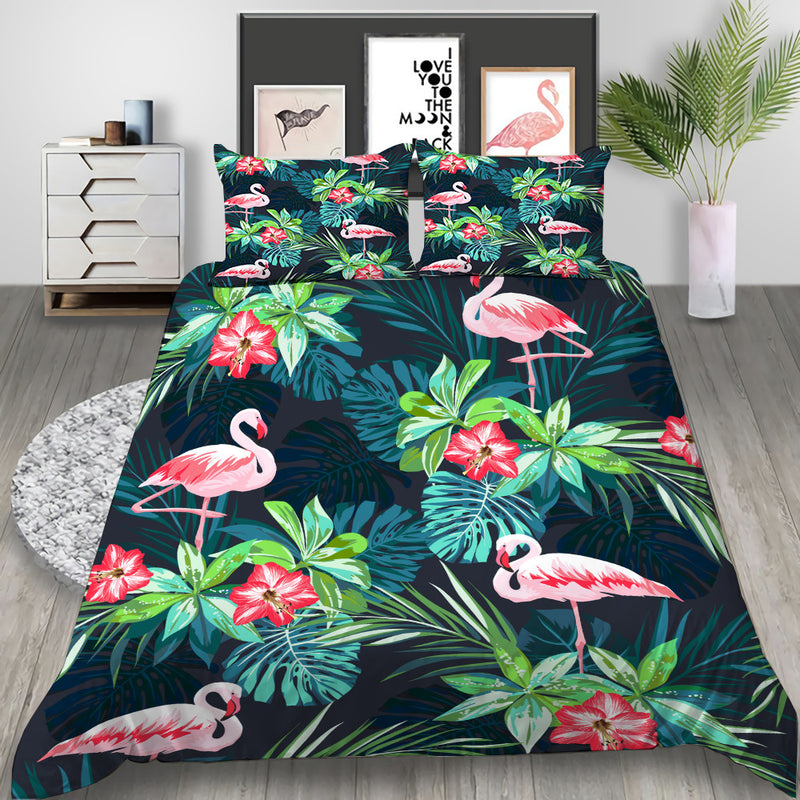 Tropical Plant Flamingo Bedlinen Set Duvet Cover Bed SetSet for Kids Bedroom