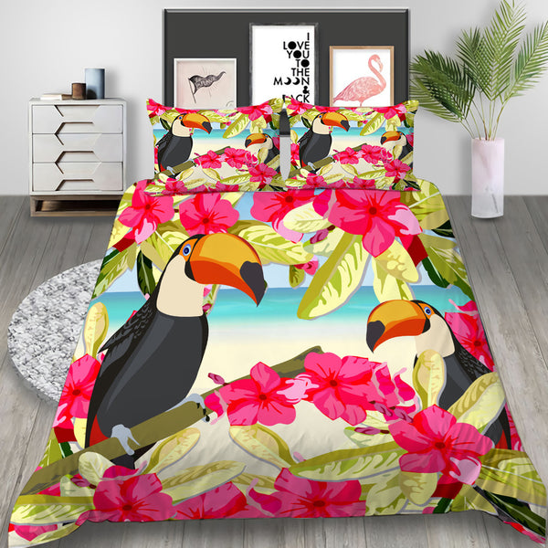 Flamingo Duvet Cover Tropical Plant Bedlinen Set Bed SetSet for Kids Bedroom