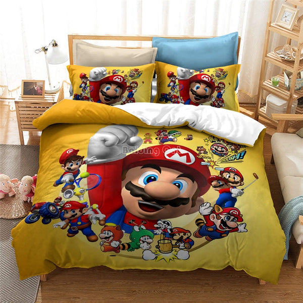 Mario Bros Duvet Cover Set Bedding SetGirls Boys Children Comforter bedline Sets-Mario Bros Duvet Cover Set