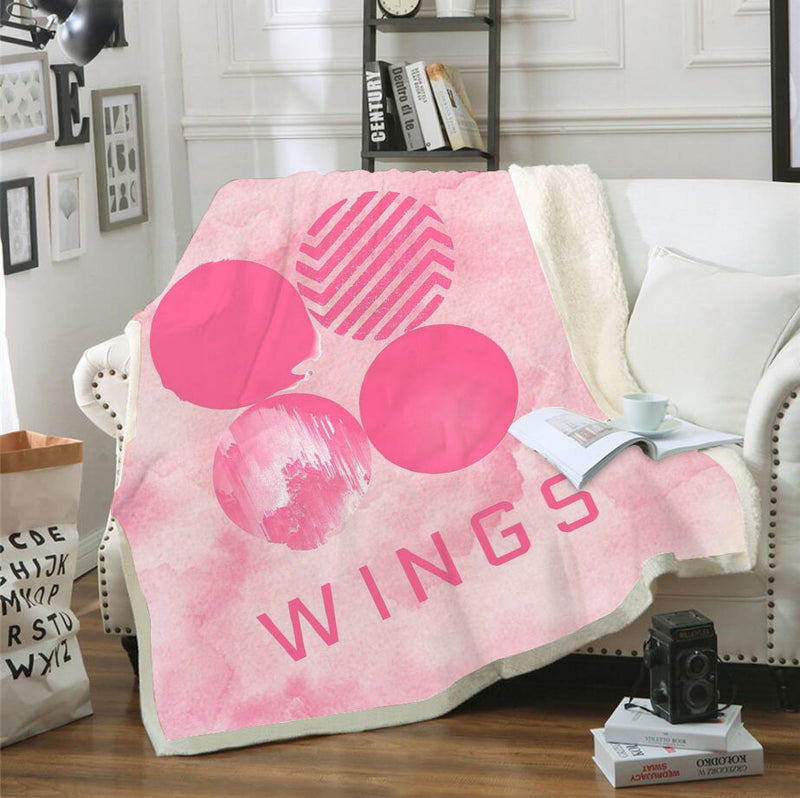 BTS Pink Blanket Bedding Blanket for Livingroom