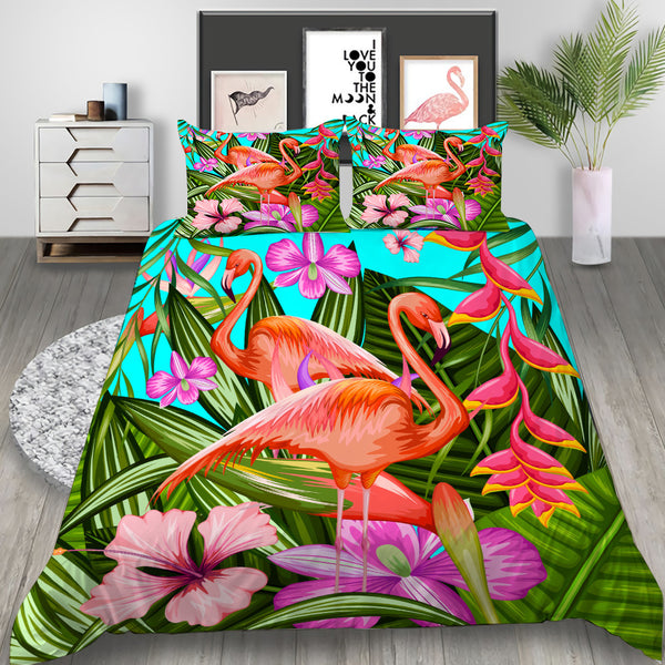 Tropical Plant Flamingo Bed Set Bedlinen Set Duvet Cover Bed SetSet Cartoon for Kids Bedroom