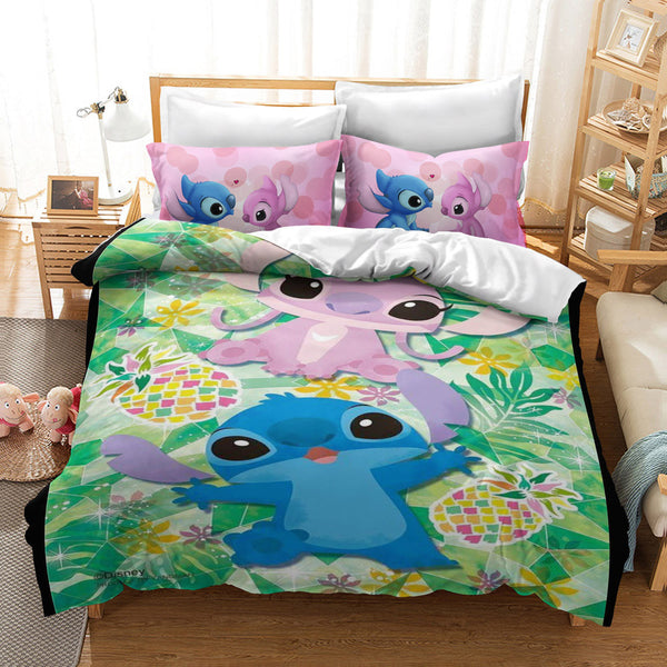 Stitch Duvet Cover Set Bed Linen 3d Customize Cartoon Comforter Set Bed Set-Stitch Duvet Cover Set