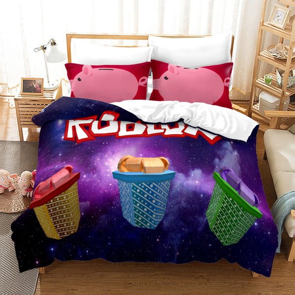 Cartoon Piggy Roblox Bed Linen Comforter Sets Bedding Sets Duvet Cover Set 3d Customize Quilt Cover-Piggy Roblox Duvet Cover Set