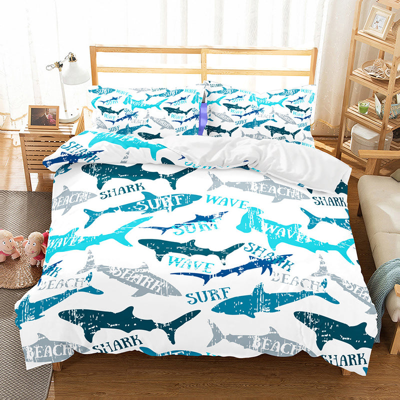 Shark Printed Duvet Cover Set 3d Customize Bed Set Kids Bedding Sets Bed Linen Quilt Cover-Shark Printed Duvet Cover Set