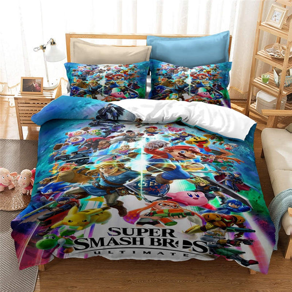 Mario Bros Bedding Set Duvet Cover Set Girls Boys Children Comforter bedline Sets-Mario Bros Duvet Cover Set