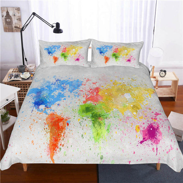Country Quilt Cover Comforter Sets Map Bed Linen 3d Customize Bedding Sets Duvet Cover Set-Map Duvet Cover Set
