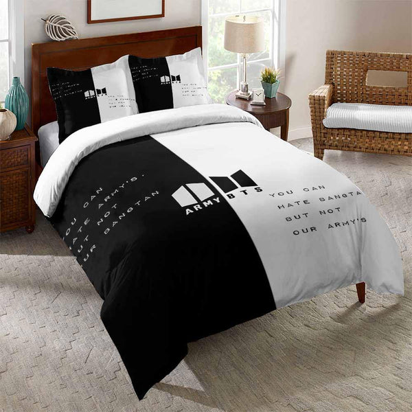Bedroom Decor BTS Bantang Boys Bedding Set Black Comforter Cover King Quilt Duvet Cover-BTS Bed set-simphouse