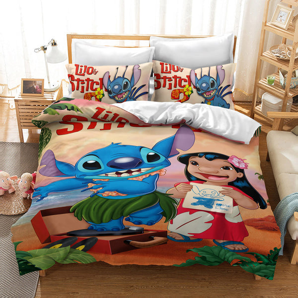 Stitch Duvet Cover Set Bed Linen Cartoon Comforter Set Kids Bed Set-Stitch Duvet Cover Set