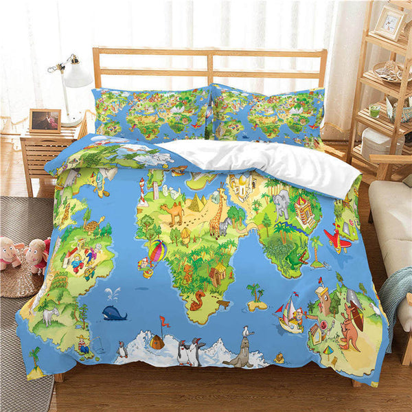 Map Bed Linen 3d Customize Bedding Sets Country Quilt Cover Comforter Sets Duvet Cover Set-Map Duvet Cover Set