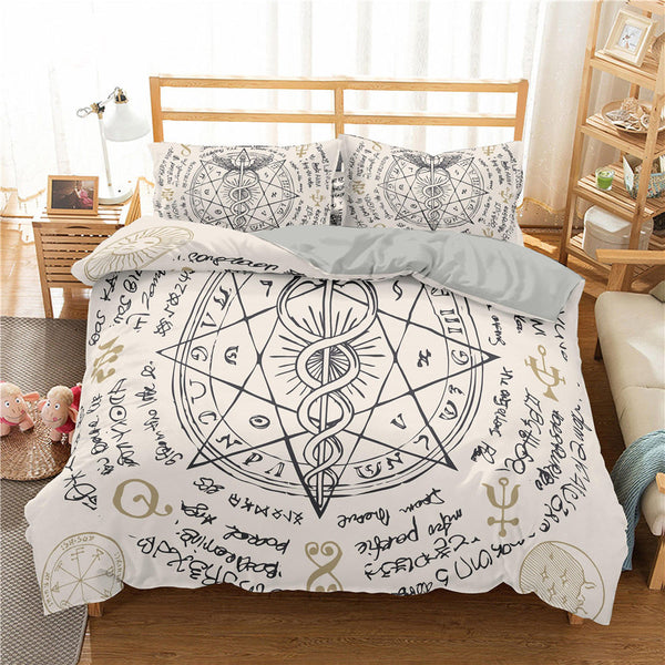 ZEIMON Alchemy Symbol Bedding Sets Cartoon Bed Set Bed Linen for Child Bedroom