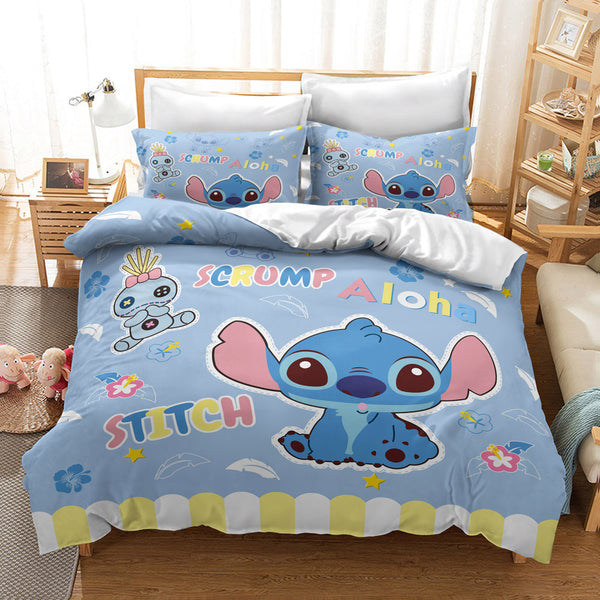 Stitch Duvet Cover Set Kids Bed Set Bed Linen Cartoon Comforter Set-Stitch Duvet Cover Set