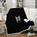 BTS Blanket Black Bedding Blanket for Bderoom