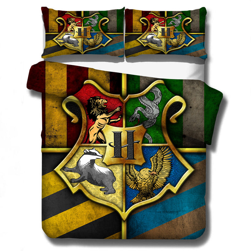 3pcs 3D Customize Cartoon Harry Potter King Bedding Bed Set Duvet Cover Sheet-Harry Potter Bedding-simphouse