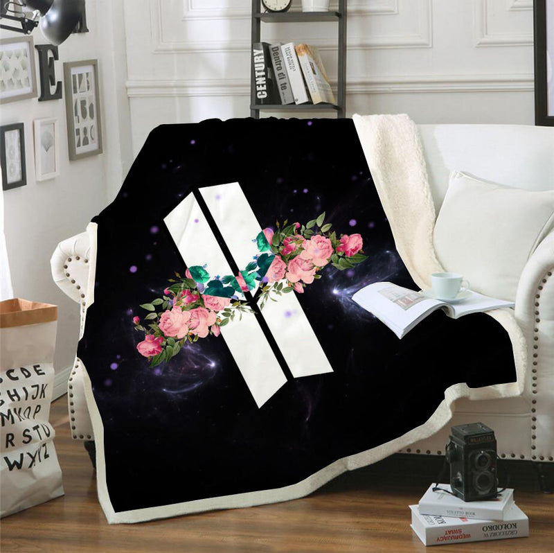 BTS Blanket Black Bedding Blanket for Bderoom Decor
