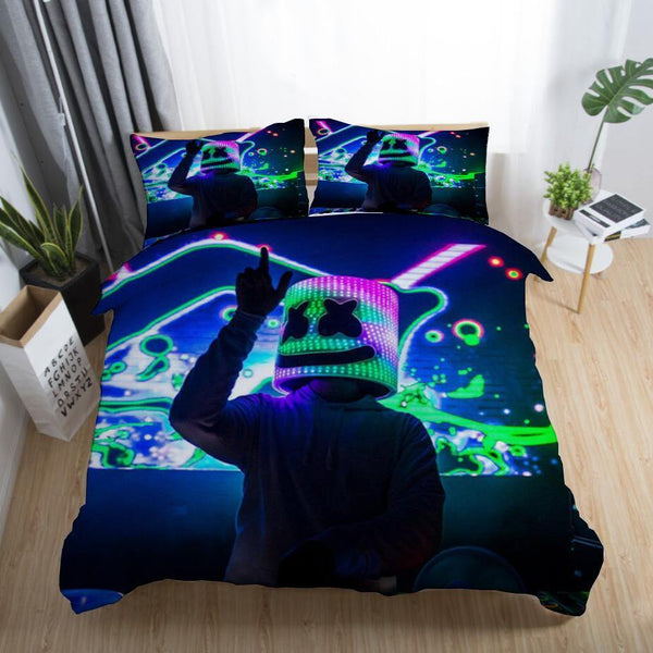 DJ Marshmello Bedding Sets Quilt Cover Duvet Comforter Cover Bedroom set-DJ Marshmello Bed set-simphouse