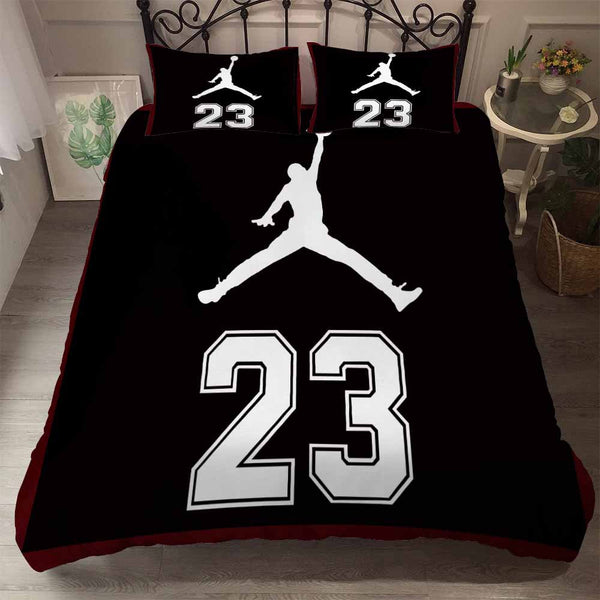 Air Jordan Bed Set Black Luxury Bedding Sets Quilt Cover Duvet Comforter Cover-Air Jordan Bed set-simphouse