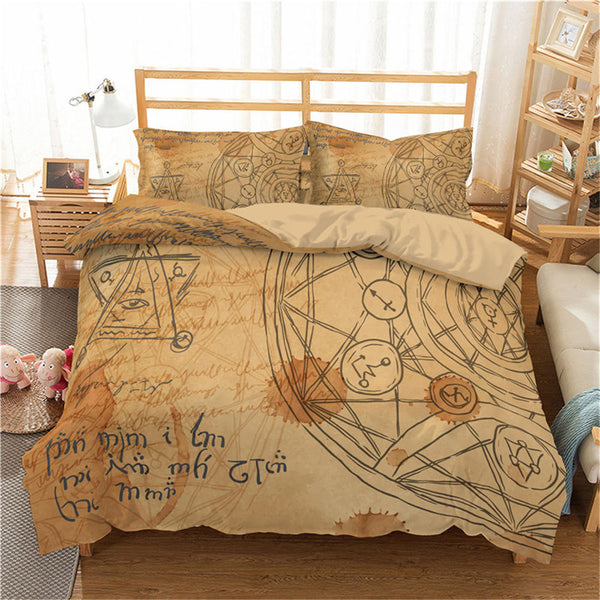 ZEIMON Alchemy Symbol Twin/Full/Queen/King Duvet Cover Set Bedding Sets Cartoon Bed Set Bed Linen