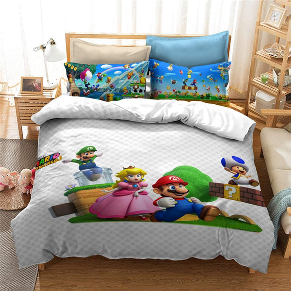 Mario Bros Bedding Set Duvet Cover Set Girls Boys Children bedline-Mario Bros Duvet Cover Set